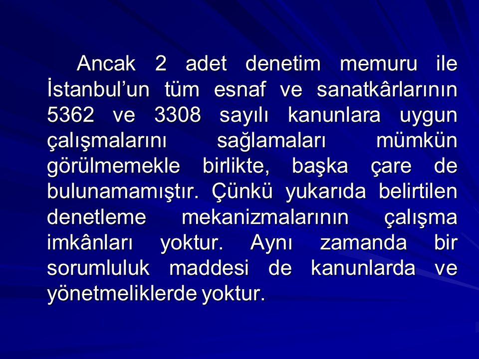 Ancak 2 adet denetim memuru ile İstanbul'un tüm esnaf ve sanatkârlarının 5362 ve 3308 sayılı kanunlara uygun çalışmalarını sağlamaları mümkün görülmemekle birlikte, başka çare de bulunamamıştır.