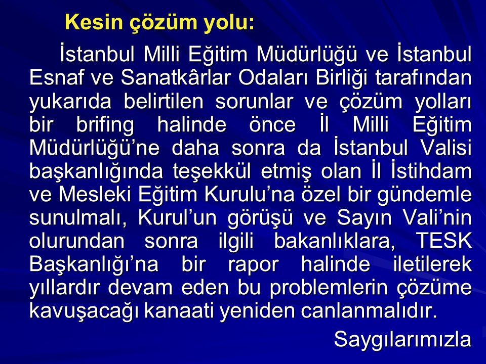 Kesin çözüm yolu: İstanbul Milli Eğitim Müdürlüğü ve İstanbul Esnaf ve Sanatkârlar Odaları Birliği tarafından yukarıda belirtilen sorunlar ve çözüm yolları bir brifing halinde önce İl Milli Eğitim Müdürlüğü'ne daha sonra da İstanbul Valisi başkanlığında teşekkül etmiş olan İl İstihdam ve Mesleki Eğitim Kurulu'na özel bir gündemle sunulmalı, Kurul'un görüşü ve Sayın Vali'nin olurundan sonra ilgili bakanlıklara, TESK Başkanlığı'na bir rapor halinde iletilerek yıllardır devam eden bu problemlerin çözüme kavuşacağı kanaati yeniden canlanmalıdır.