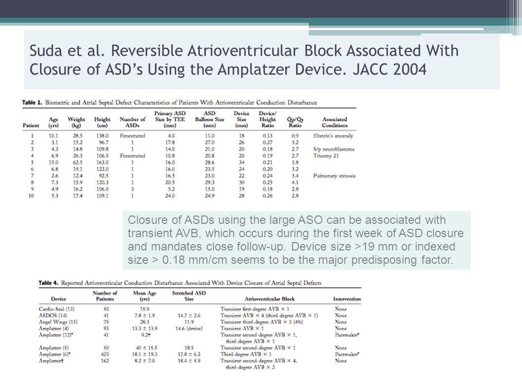 Suda et al. Reversible Atrioventricular Block Associated With Closure of ASD's Using the Amplatzer Device. JACC 2004 Closure of ASDs using the large A