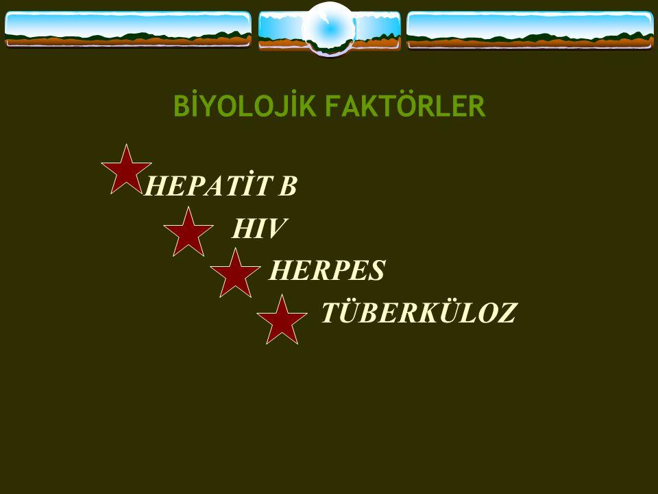 BİYOLOJİK FAKTÖRLER HEPATİT B HIV HERPES TÜBERKÜLOZ