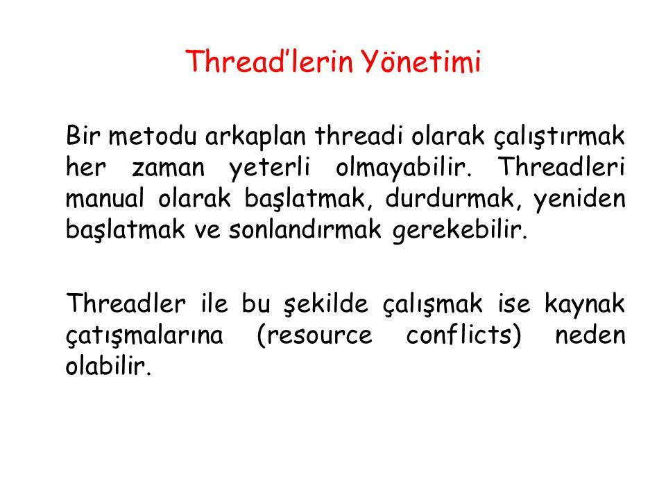 Thread'lerin Yönetimi Bir metodu arkaplan threadi olarak çalıştırmak her zaman yeterli olmayabilir. Threadleri manual olarak başlatmak, durdurmak, yen