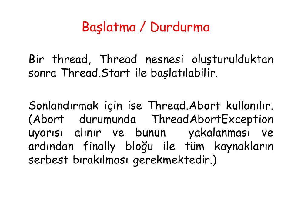 Başlatma / Durdurma Bir thread, Thread nesnesi oluşturulduktan sonra Thread.Start ile başlatılabilir. Sonlandırmak için ise Thread.Abort kullanılır. (
