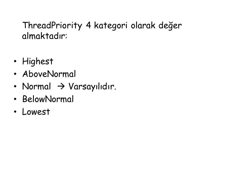 ThreadPriority 4 kategori olarak değer almaktadır: Highest AboveNormal Normal  Varsayılıdır. BelowNormal Lowest