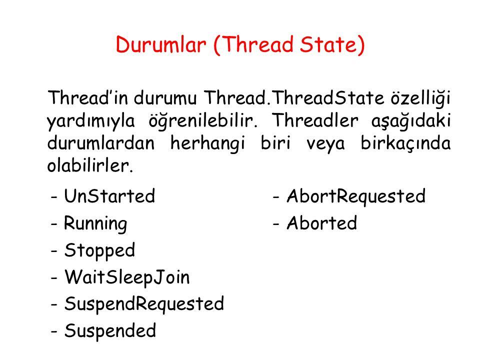 Durumlar (Thread State) Thread'in durumu Thread.ThreadState özelliği yardımıyla öğrenilebilir. Threadler aşağıdaki durumlardan herhangi biri veya birk