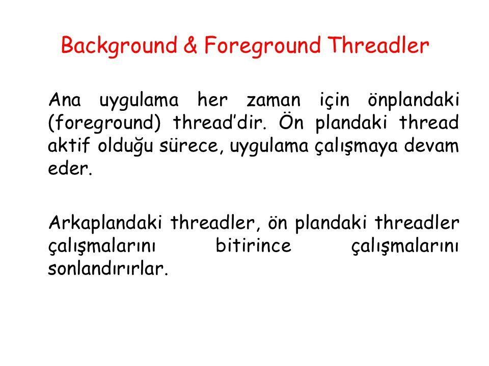 Background & Foreground Threadler Ana uygulama her zaman için önplandaki (foreground) thread'dir. Ön plandaki thread aktif olduğu sürece, uygulama çal
