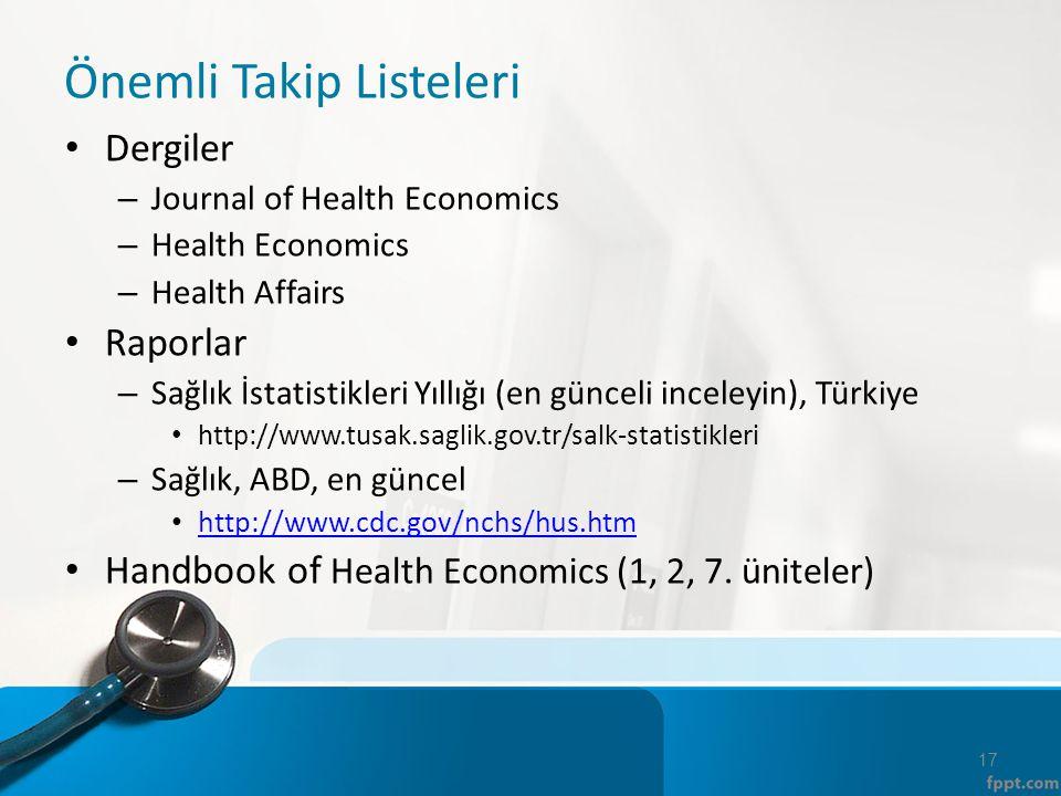 Önemli Takip Listeleri Dergiler – Journal of Health Economics – Health Economics – Health Affairs Raporlar – Sağlık İstatistikleri Yıllığı (en günceli