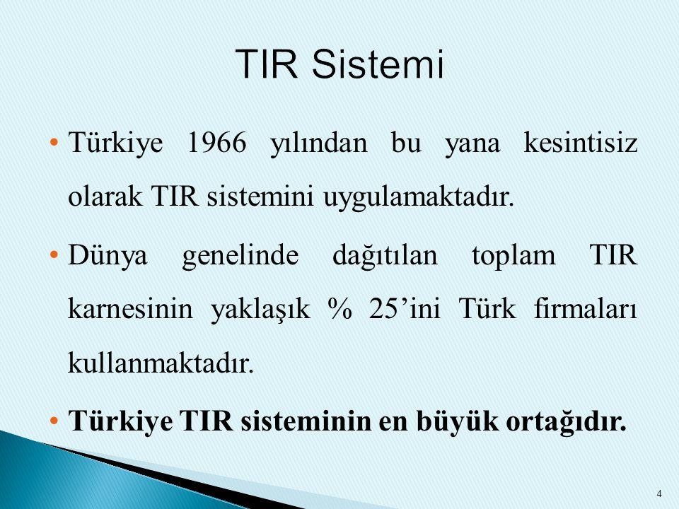 Türkiye 1966 yılından bu yana kesintisiz olarak TIR sistemini uygulamaktadır. Dünya genelinde dağıtılan toplam TIR karnesinin yaklaşık % 25'ini Türk f