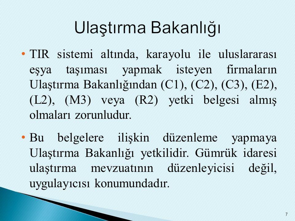 TIR sistemi altında, karayolu ile uluslararası eşya taşıması yapmak isteyen firmaların Ulaştırma Bakanlığından (C1), (C2), (C3), (E2), (L2), (M3) veya