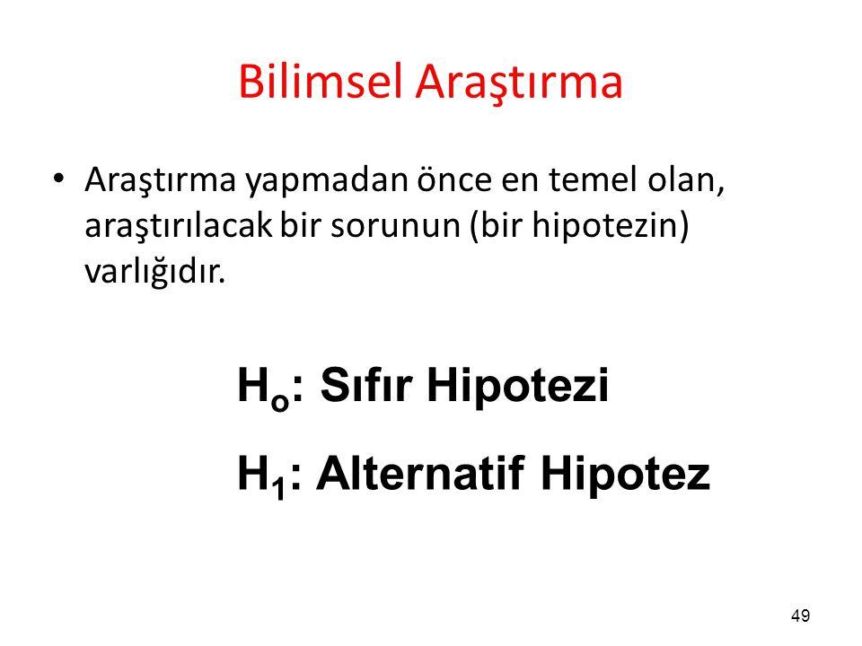 49 Bilimsel Araştırma Araştırma yapmadan önce en temel olan, araştırılacak bir sorunun (bir hipotezin) varlığıdır. H o : Sıfır Hipotezi H 1 : Alternat