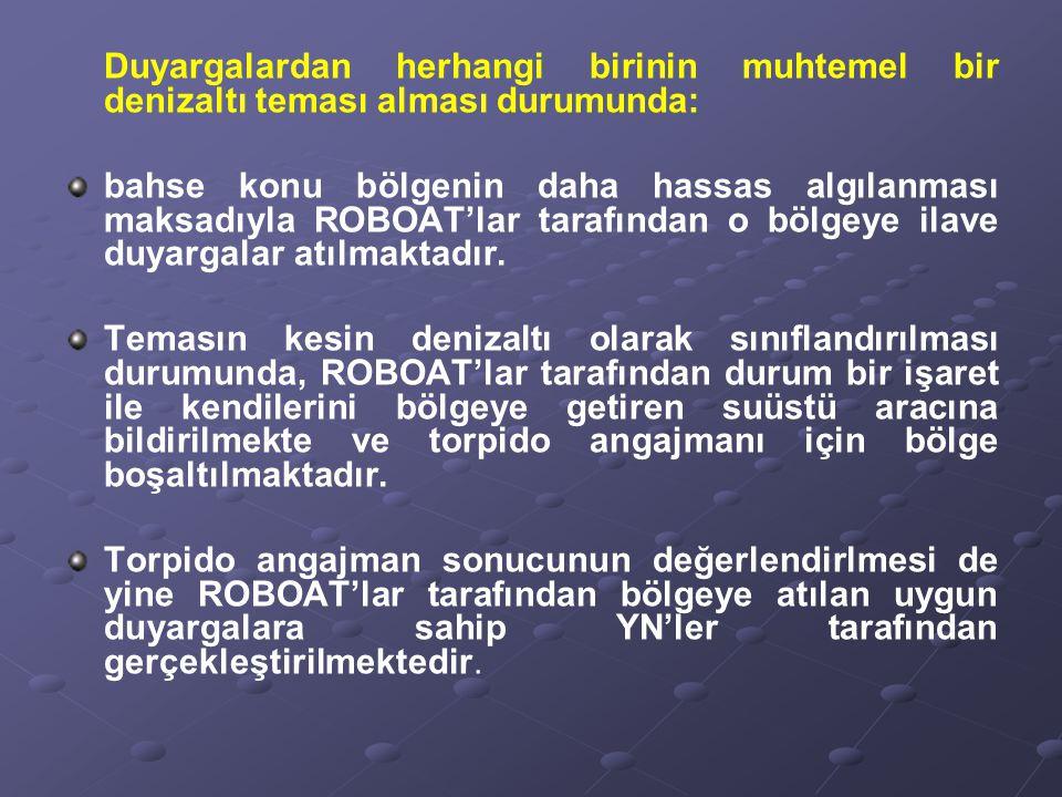 Duyargalardan herhangi birinin muhtemel bir denizaltı teması alması durumunda: bahse konu bölgenin daha hassas algılanması maksadıyla ROBOAT'lar taraf