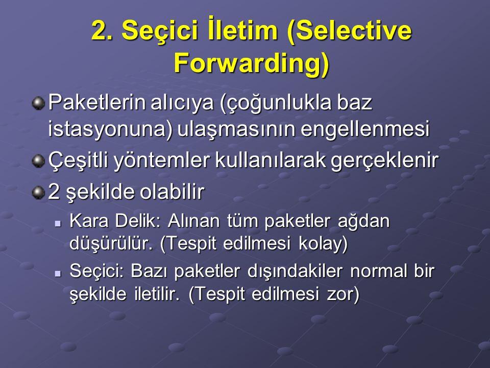 2. Seçici İletim (Selective Forwarding) Paketlerin alıcıya (çoğunlukla baz istasyonuna) ulaşmasının engellenmesi Çeşitli yöntemler kullanılarak gerçek