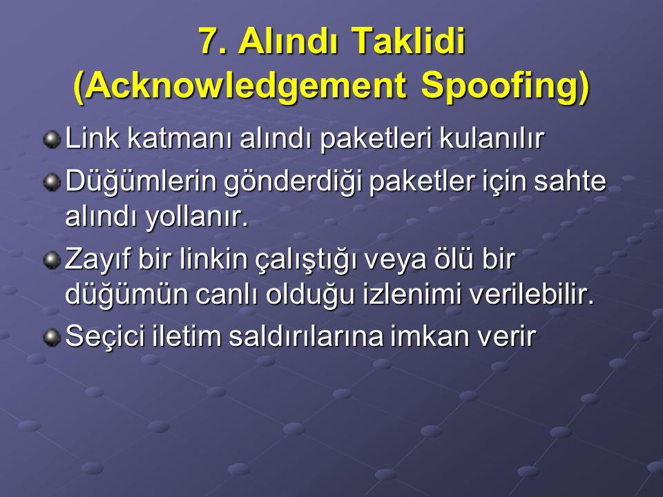 7. Alındı Taklidi (Acknowledgement Spoofing) Link katmanı alındı paketleri kulanılır Düğümlerin gönderdiği paketler için sahte alındı yollanır. Zayıf