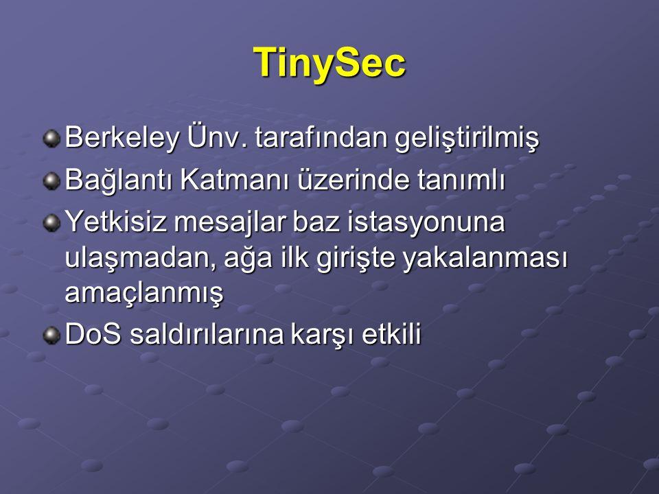TinySec Berkeley Ünv. tarafından geliştirilmiş Bağlantı Katmanı üzerinde tanımlı Yetkisiz mesajlar baz istasyonuna ulaşmadan, ağa ilk girişte yakalanm