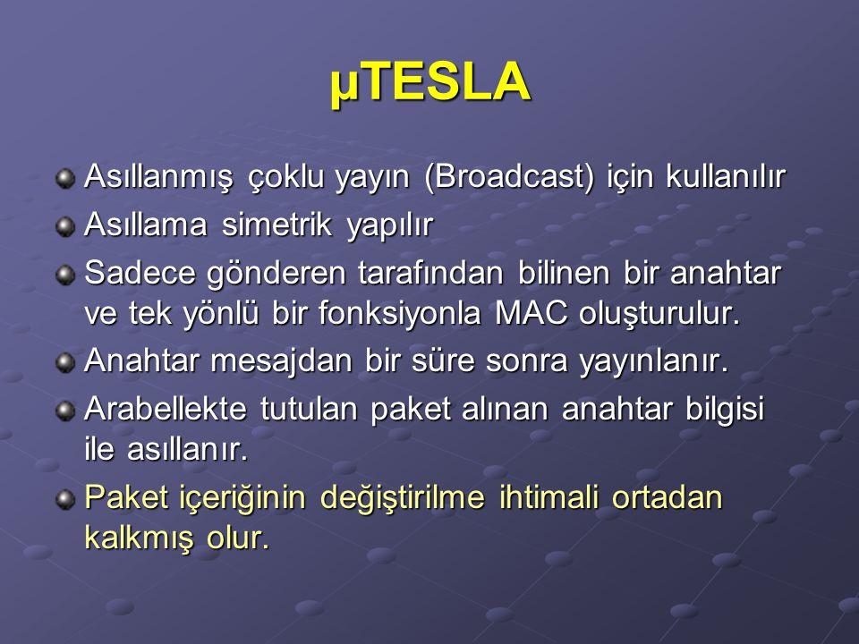 µTESLA Asıllanmış çoklu yayın (Broadcast) için kullanılır Asıllama simetrik yapılır Sadece gönderen tarafından bilinen bir anahtar ve tek yönlü bir fo