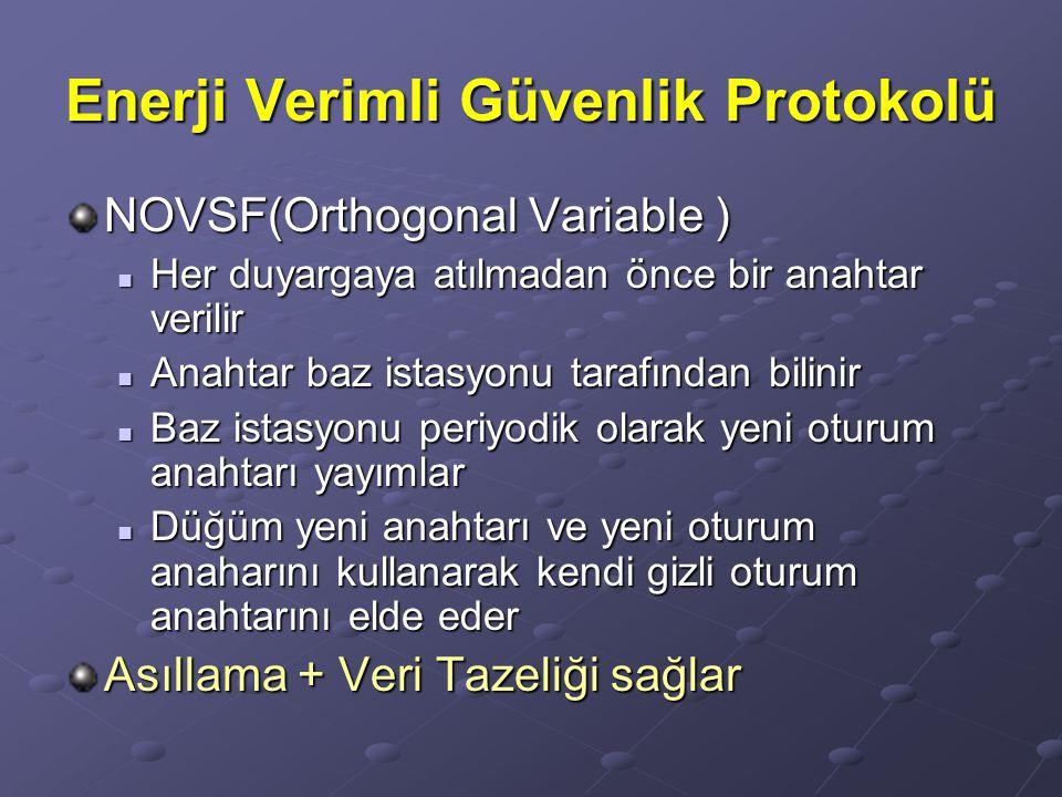 Enerji Verimli Güvenlik Protokolü NOVSF(Orthogonal Variable ) Her duyargaya atılmadan önce bir anahtar verilir Her duyargaya atılmadan önce bir anahta