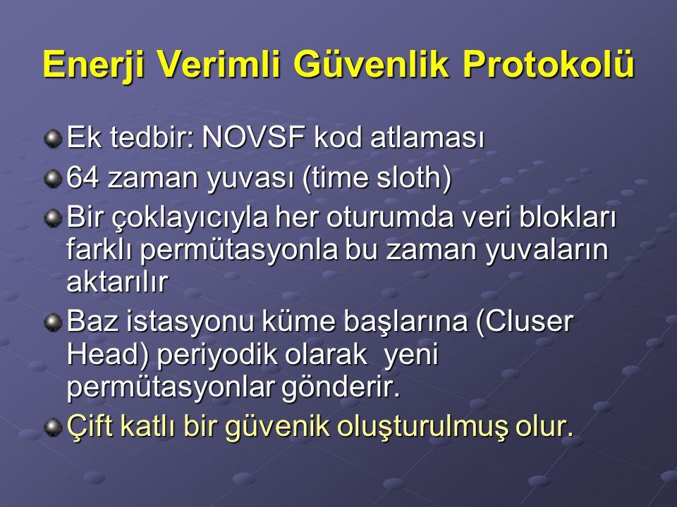 Enerji Verimli Güvenlik Protokolü Ek tedbir: NOVSF kod atlaması 64 zaman yuvası (time sloth) Bir çoklayıcıyla her oturumda veri blokları farklı permüt