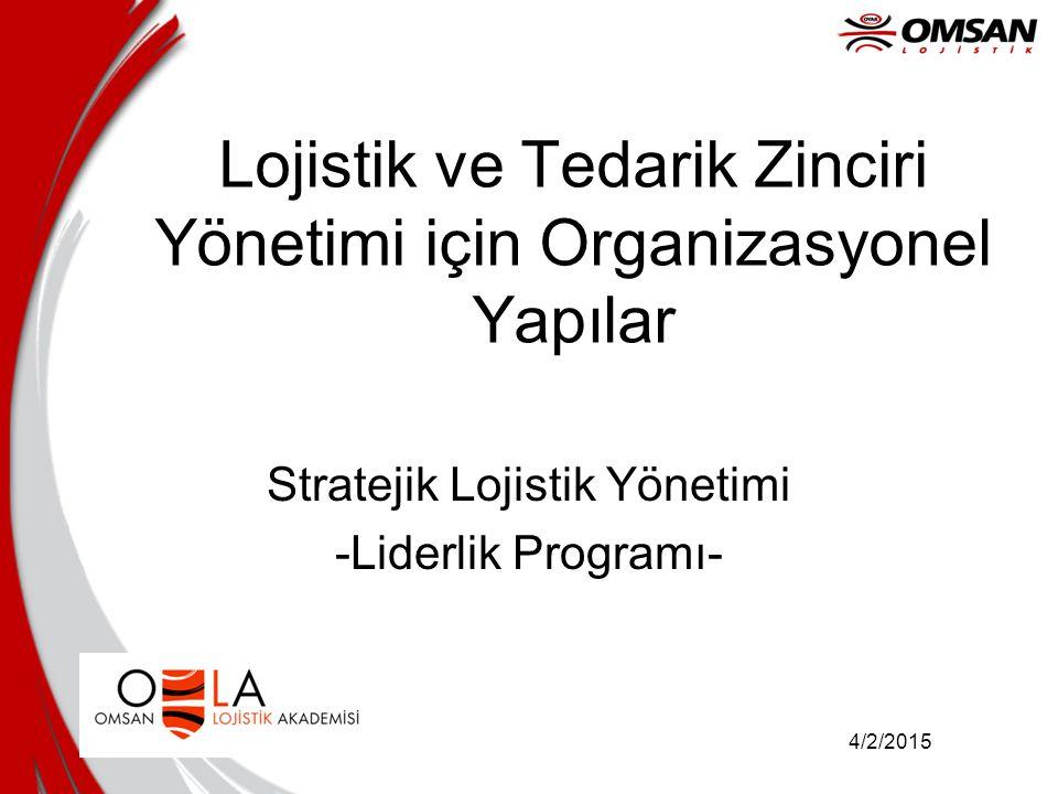 4/2/2015 Lojistik ve Tedarik Zinciri Yönetimi için Organizasyonel Yapılar Stratejik Lojistik Yönetimi -Liderlik Programı-
