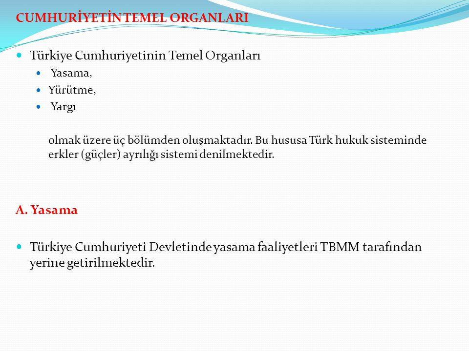 CUMHURİYETİN TEMEL ORGANLARI Türkiye Cumhuriyetinin Temel Organları Yasama, Yürütme, Yargı olmak üzere üç bölümden oluşmaktadır. Bu hususa Türk hukuk