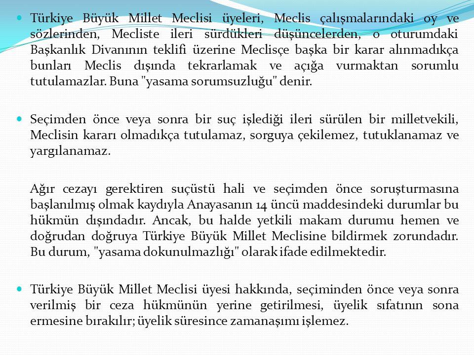 Türkiye Büyük Millet Meclisi üyeleri, Meclis çalışmalarındaki oy ve sözlerinden, Mecliste ileri sürdükleri düşüncelerden, o oturumdaki Başkanlık Divan