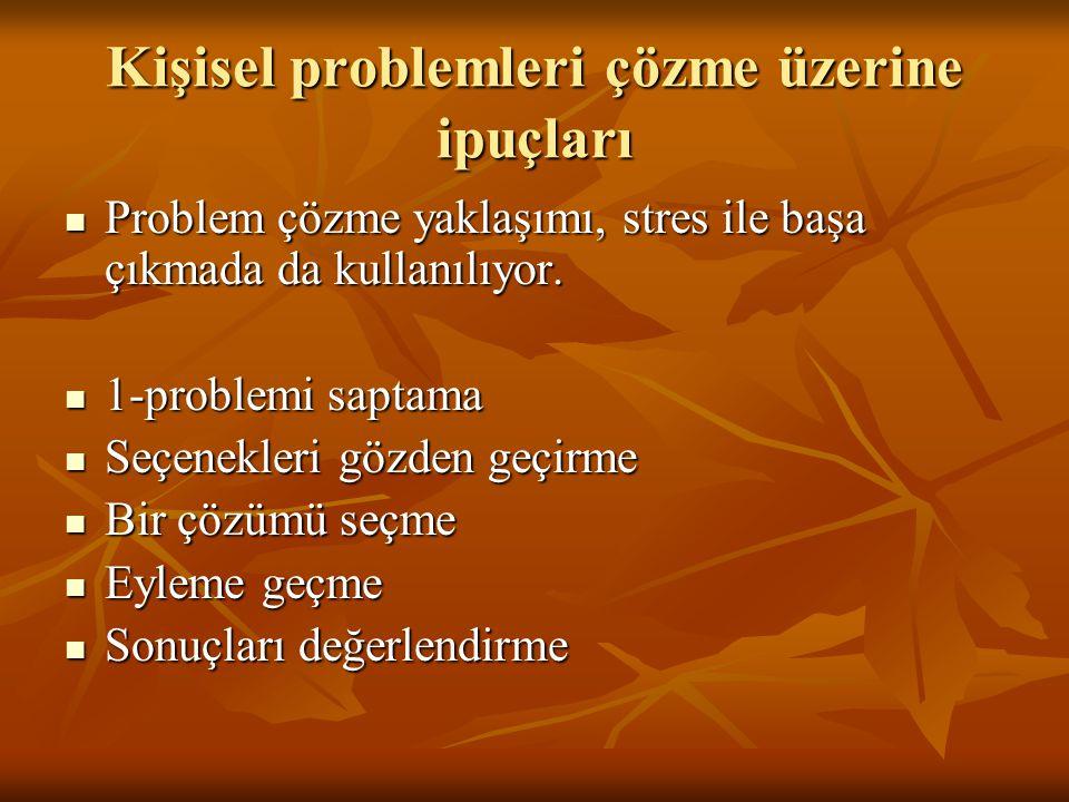 Kişisel problemleri çözme üzerine ipuçları Problem çözme yaklaşımı, stres ile başa çıkmada da kullanılıyor. Problem çözme yaklaşımı, stres ile başa çı