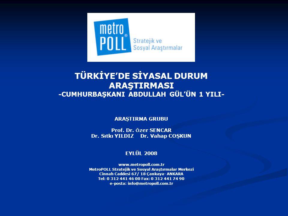 AMAÇ Bu araştırmanın temel amacı, Cumhurbaşkanı Abdullah Gül'ün 1 yıllık görev süresinin halk tarafından nasıl değerlendirildiğini ölçmektir.