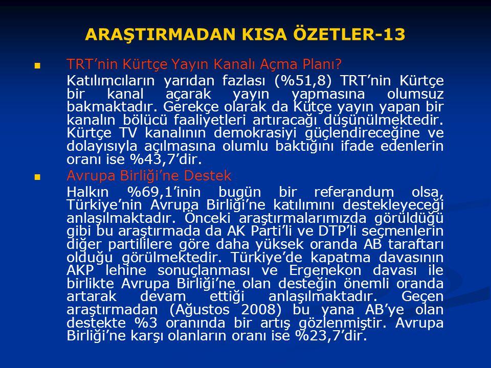 ARAŞTIRMADAN KISA ÖZETLER-13 TRT'nin Kürtçe Yayın Kanalı Açma Planı? Katılımcıların yarıdan fazlası (%51,8) TRT'nin Kürtçe bir kanal açarak yayın yapm