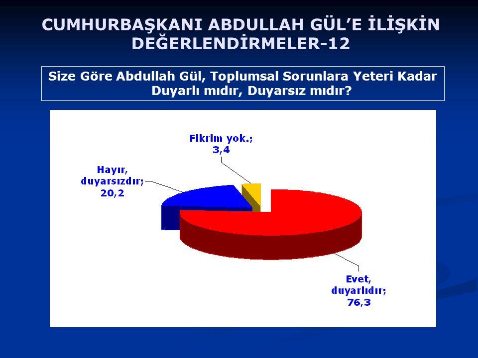 Size Göre Abdullah Gül, Toplumsal Sorunlara Yeteri Kadar Duyarlı mıdır, Duyarsız mıdır? CUMHURBAŞKANI ABDULLAH GÜL'E İLİŞKİN DEĞERLENDİRMELER-12