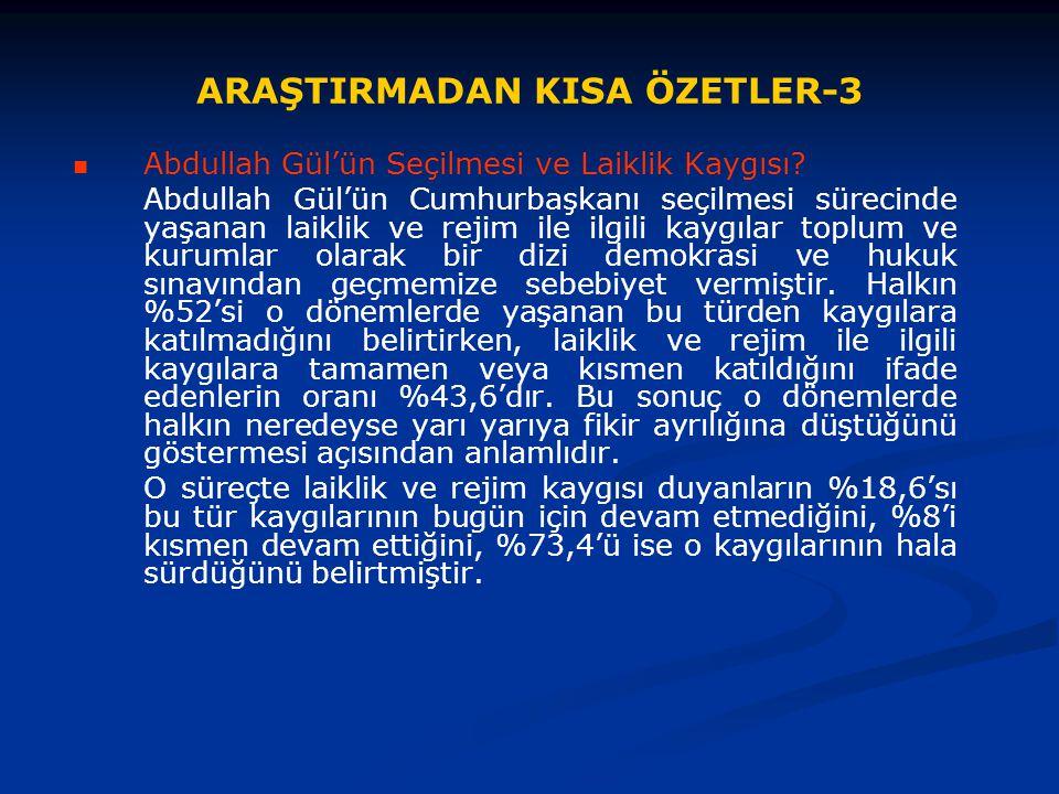 ARAŞTIRMADAN KISA ÖZETLER-3 Abdullah Gül'ün Seçilmesi ve Laiklik Kaygısı? Abdullah Gül'ün Cumhurbaşkanı seçilmesi sürecinde yaşanan laiklik ve rejim i