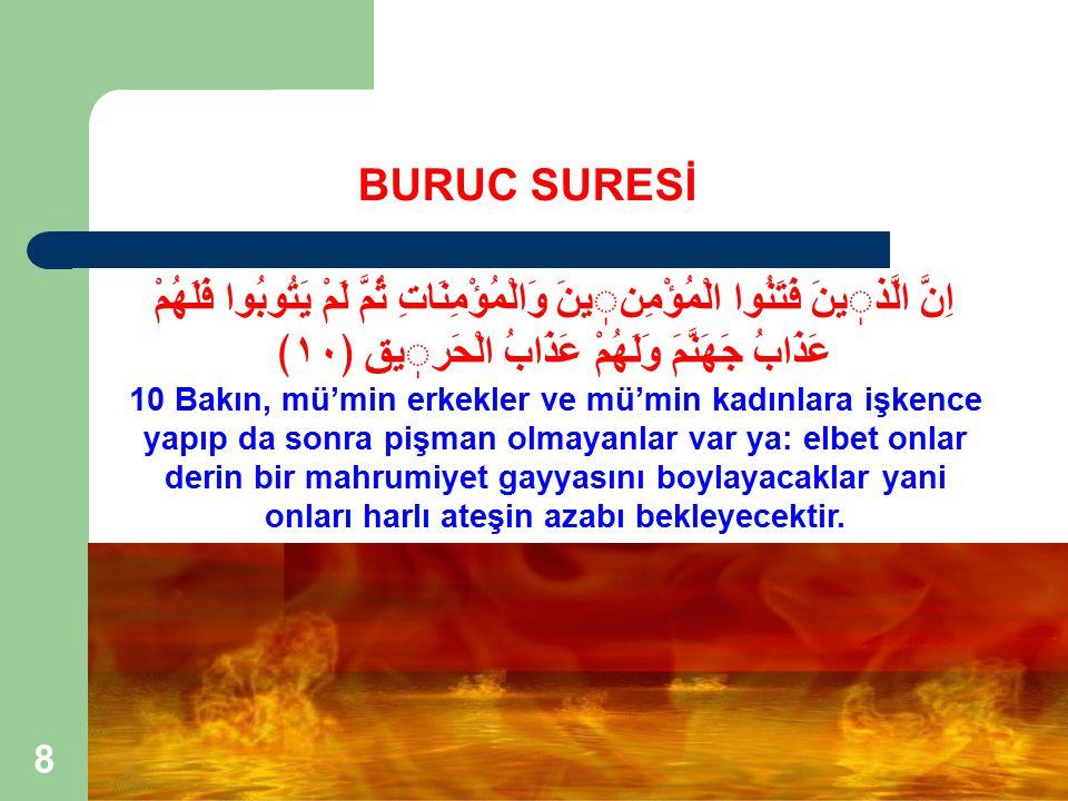 19 BURUC SURESİ KONUSU (6) 1.İnanca yönelik örgütlü baskı ve bunun Ahiret'teki cezası.