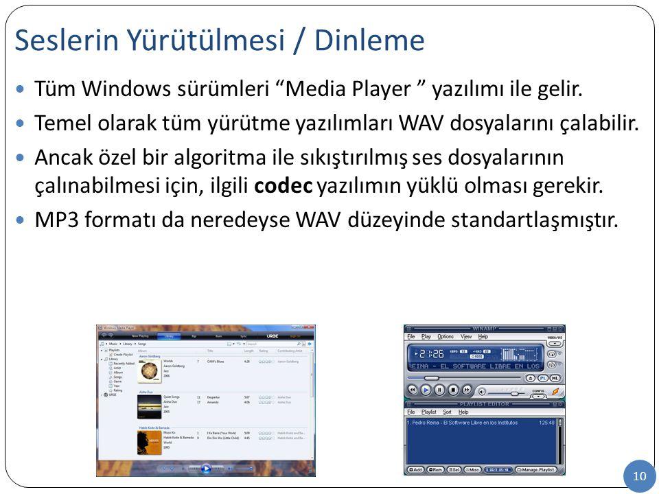 """10 Tüm Windows sürümleri """"Media Player """" yazılımı ile gelir. Temel olarak tüm yürütme yazılımları WAV dosyalarını çalabilir. Ancak özel bir algoritma"""