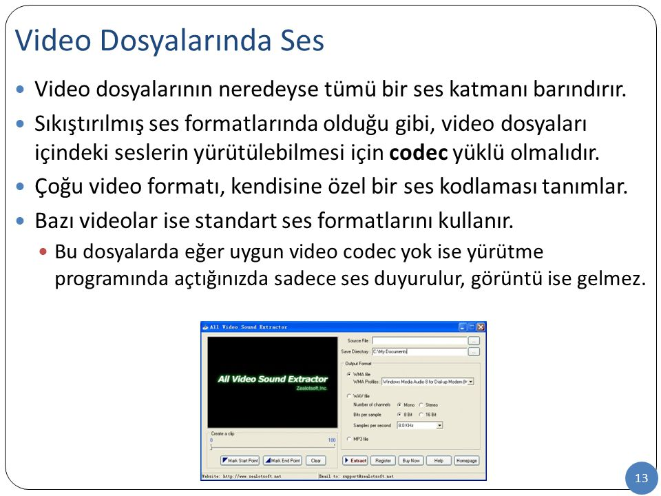 13 Video dosyalarının neredeyse tümü bir ses katmanı barındırır. Sıkıştırılmış ses formatlarında olduğu gibi, video dosyaları içindeki seslerin yürütü