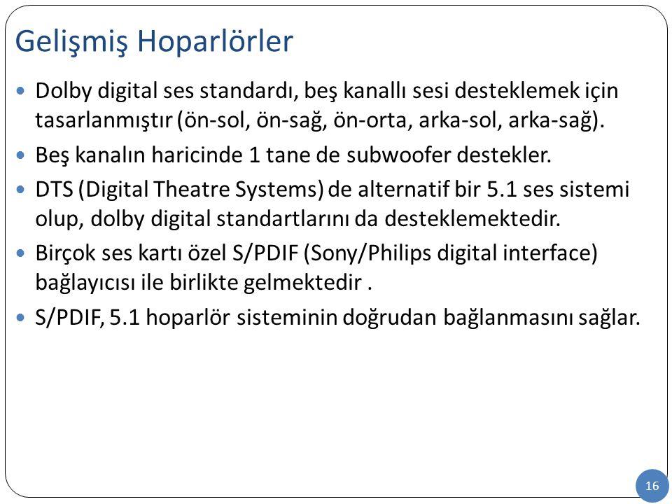 16 Dolby digital ses standardı, beş kanallı sesi desteklemek için tasarlanmıştır (ön-sol, ön-sağ, ön-orta, arka-sol, arka-sağ). Beş kanalın haricinde
