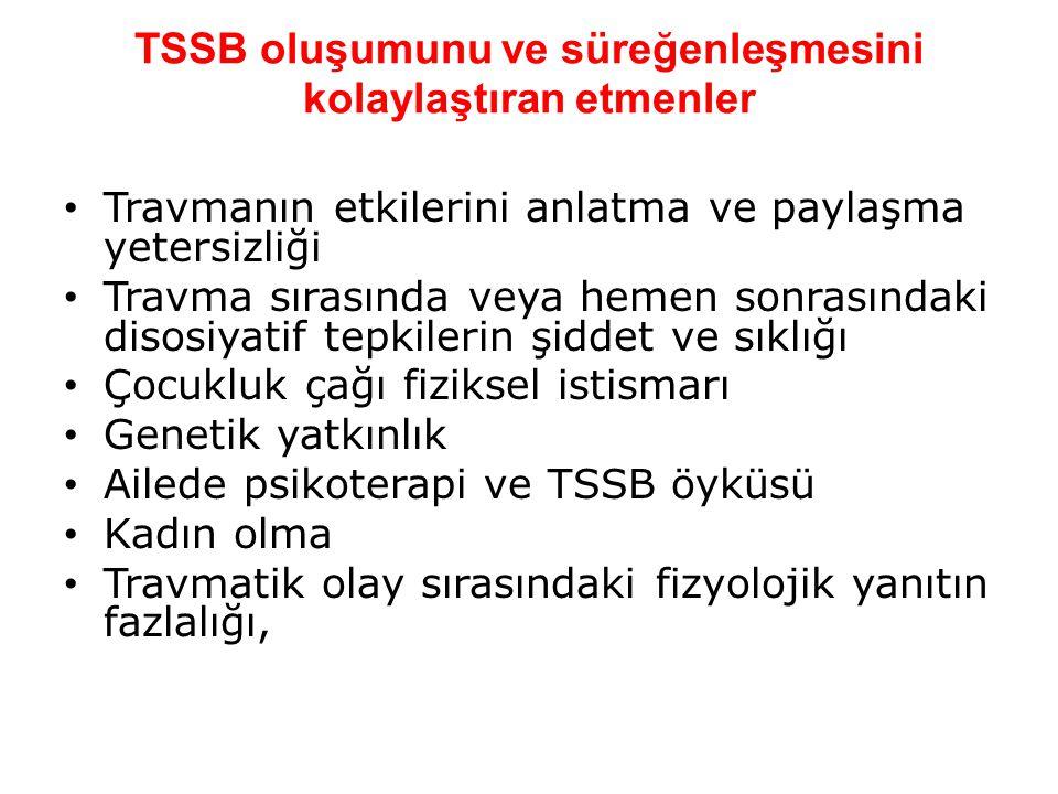 TSSB oluşumunu ve süreğenleşmesini kolaylaştıran etmenler Travmanın etkilerini anlatma ve paylaşma yetersizliği Travma sırasında veya hemen sonrasında