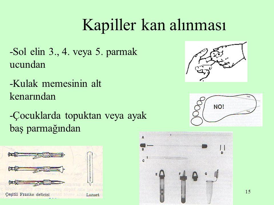 15 Kapiller kan alınması -Sol elin 3., 4. veya 5. parmak ucundan -Kulak memesinin alt kenarından -Çocuklarda topuktan veya ayak baş parmağından