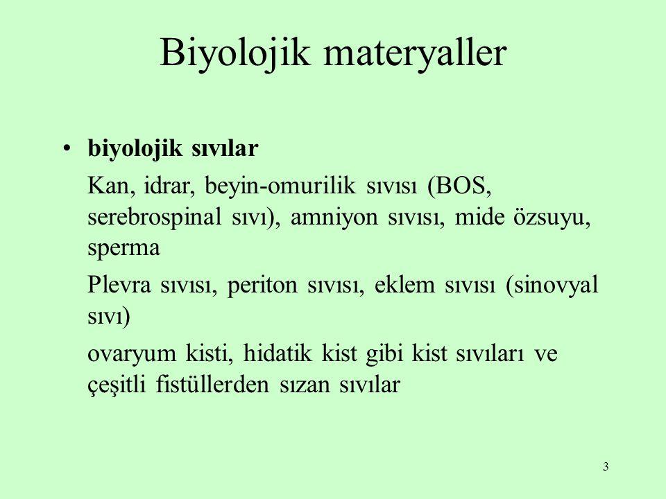 3 Biyolojik materyaller biyolojik sıvılar Kan, idrar, beyin-omurilik sıvısı (BOS, serebrospinal sıvı), amniyon sıvısı, mide özsuyu, sperma Plevra sıvı
