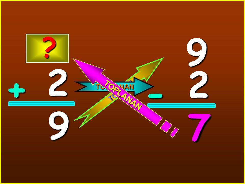 2 + 9 9 2 - 7 T O P L A M TOPLANAN T O P L A N A N ? 7