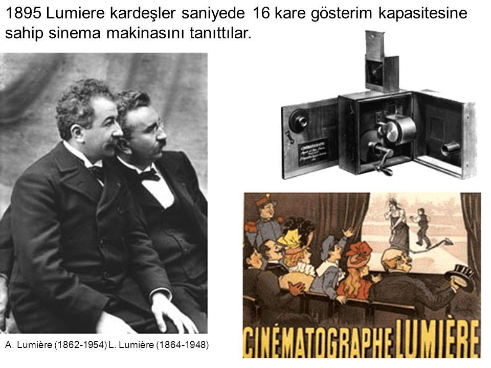 1895 Lumiere kardeşler saniyede 16 kare gösterim kapasitesine sahip sinema makinasını tanıttılar. A. Lumière (1862-1954) L. Lumière (1864-1948)