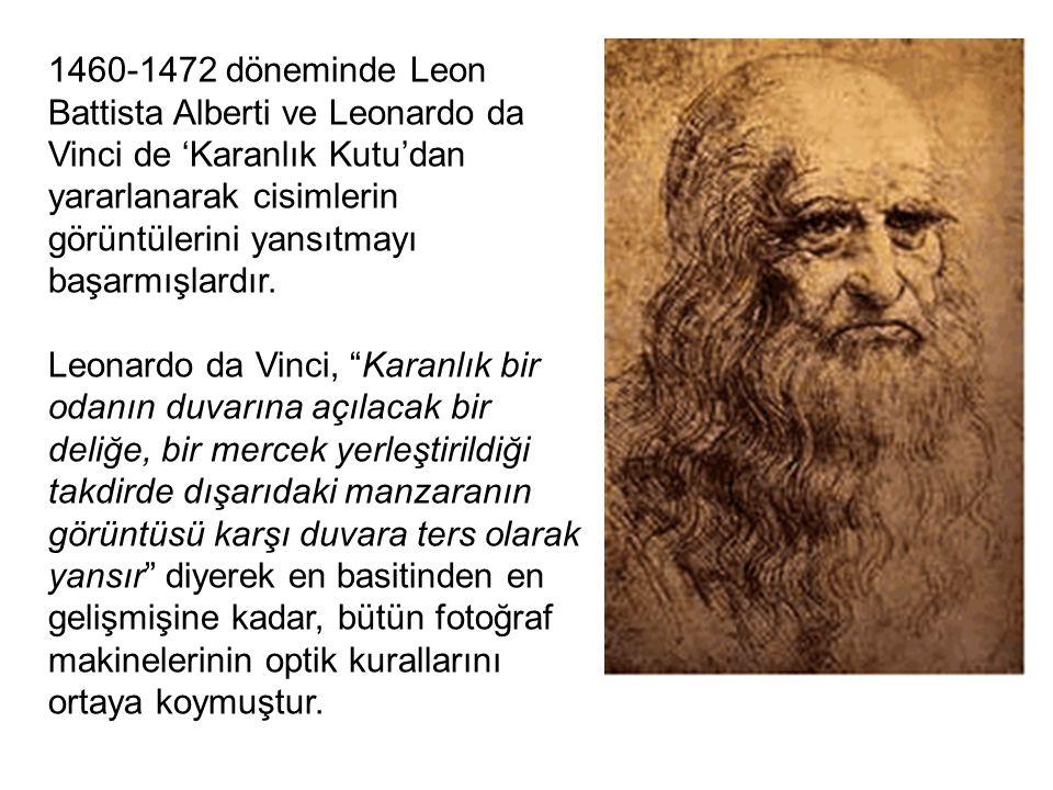 1460-1472 döneminde Leon Battista Alberti ve Leonardo da Vinci de 'Karanlık Kutu'dan yararlanarak cisimlerin görüntülerini yansıtmayı başarmışlardır.