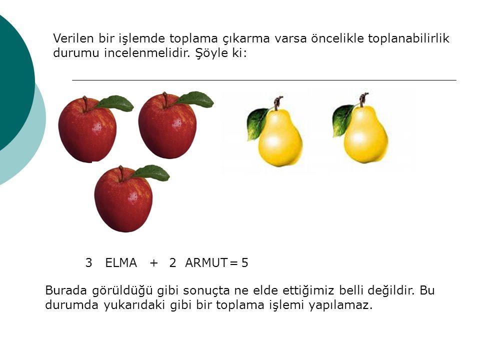 Verilen bir işlemde toplama çıkarma varsa öncelikle toplanabilirlik durumu incelenmelidir. Şöyle ki: 3ELMA+2ARMUT=5 Burada görüldüğü gibi sonuçta ne e