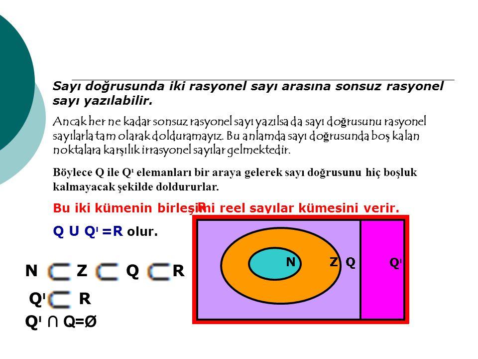 Sayı doğrusunda iki rasyonel sayı arasına sonsuz rasyonel sayı yazılabilir. Ancak her ne kadar sonsuz rasyonel sayı yazılsa da sayı do ğ rusunu rasyon