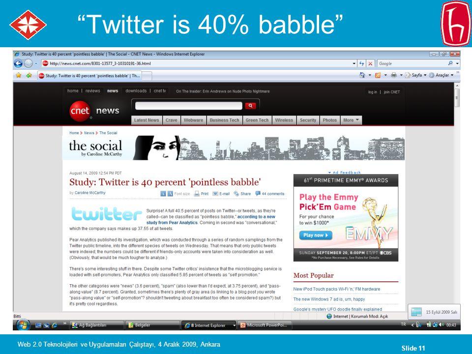 Slide 11 Web 2.0 Teknolojileri ve Uygulamaları Çalıştayı, 4 Aralık 2009, Ankara Twitter is 40% babble