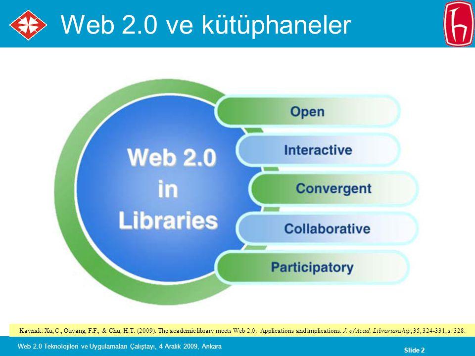 Slide 2 Web 2.0 Teknolojileri ve Uygulamaları Çalıştayı, 4 Aralık 2009, Ankara Web 2.0 ve kütüphaneler Kaynak: Xu, C., Ouyang, F.F., & Chu, H.T.