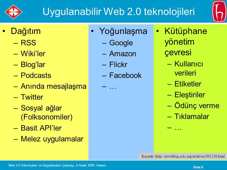 Slide 8 Web 2.0 Teknolojileri ve Uygulamaları Çalıştayı, 4 Aralık 2009, Ankara Uygulanabilir Web 2.0 teknolojileri Dağıtım –RSS –Wiki'ler –Blog'lar –Podcasts –Anında mesajlaşma –Twitter –Sosyal ağlar (Folksonomiler) –Basit API'ler –Melez uygulamalar Yoğunlaşma –Google –Amazon –Flickr –Facebook –… Kütüphane yönetim çevresi –Kullanıcı verileri –Etiketler –Eleştiriler –Ödünç verme –Tıklamalar –… Kaynak: http://orweblog.oclc.org/archives/001556.html