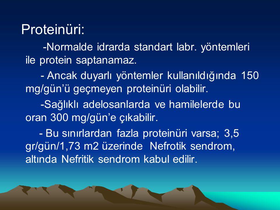 Proteinüri: -Normalde idrarda standart labr. yöntemleri ile protein saptanamaz. - Ancak duyarlı yöntemler kullanıldığında 150 mg/gün'ü geçmeyen protei