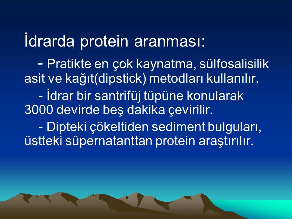 İdrarda protein aranması: - Pratikte en çok kaynatma, sülfosalisilik asit ve kağıt(dipstick) metodları kullanılır. - İdrar bir santrifüj tüpüne konula