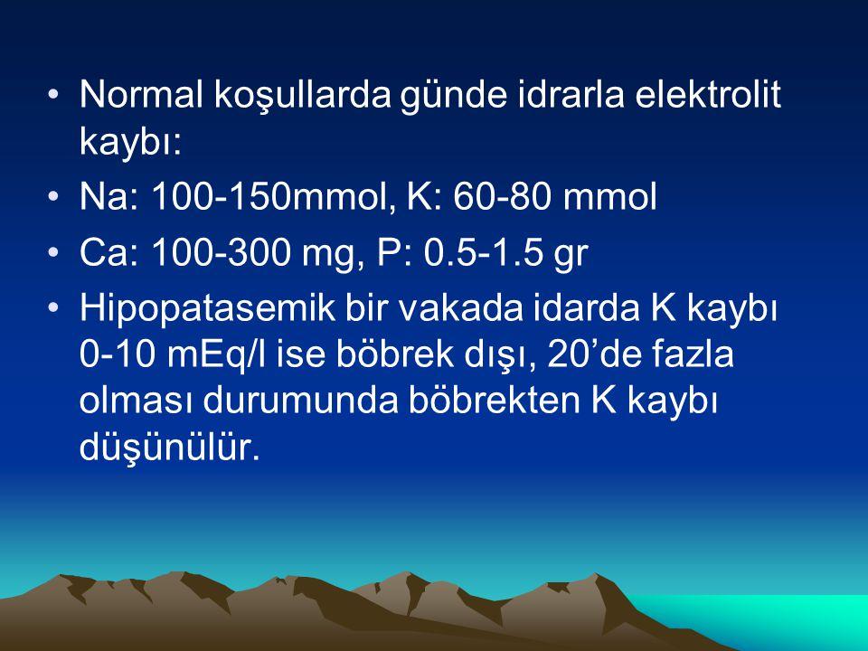 Normal koşullarda günde idrarla elektrolit kaybı: Na: 100-150mmol, K: 60-80 mmol Ca: 100-300 mg, P: 0.5-1.5 gr Hipopatasemik bir vakada idarda K kaybı