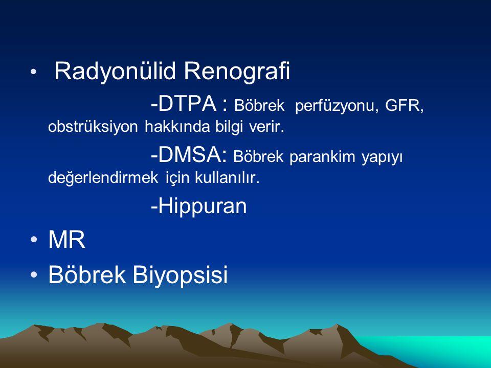 Radyonülid Renografi -DTPA : Böbrek perfüzyonu, GFR, obstrüksiyon hakkında bilgi verir. -DMSA: Böbrek parankim yapıyı değerlendirmek için kullanılır.