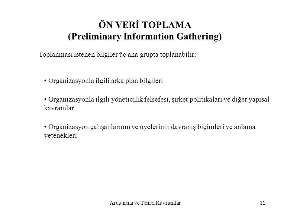 Araştırma ve Temel Kavramlar11 ÖN VERİ TOPLAMA (Preliminary Information Gathering) Toplanması istenen bilgiler üç ana grupta toplanabilir: Organizasyo