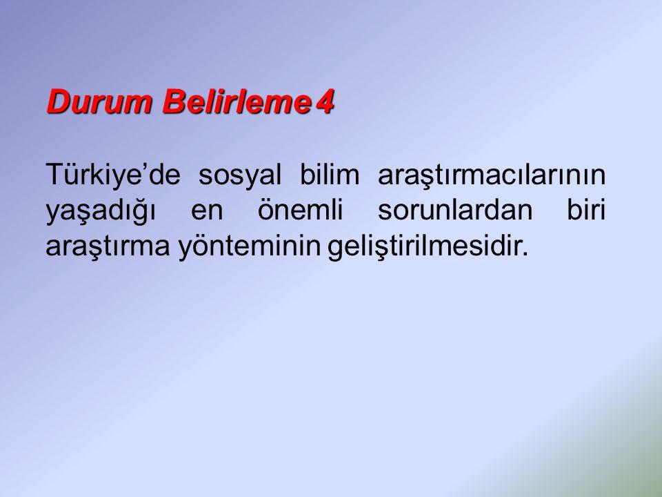 Durum Belirleme4 Durum Belirleme 4 Türkiye'de sosyal bilim araştırmacılarının yaşadığı en önemli sorunlardan biri araştırma yönteminin geliştirilmesid