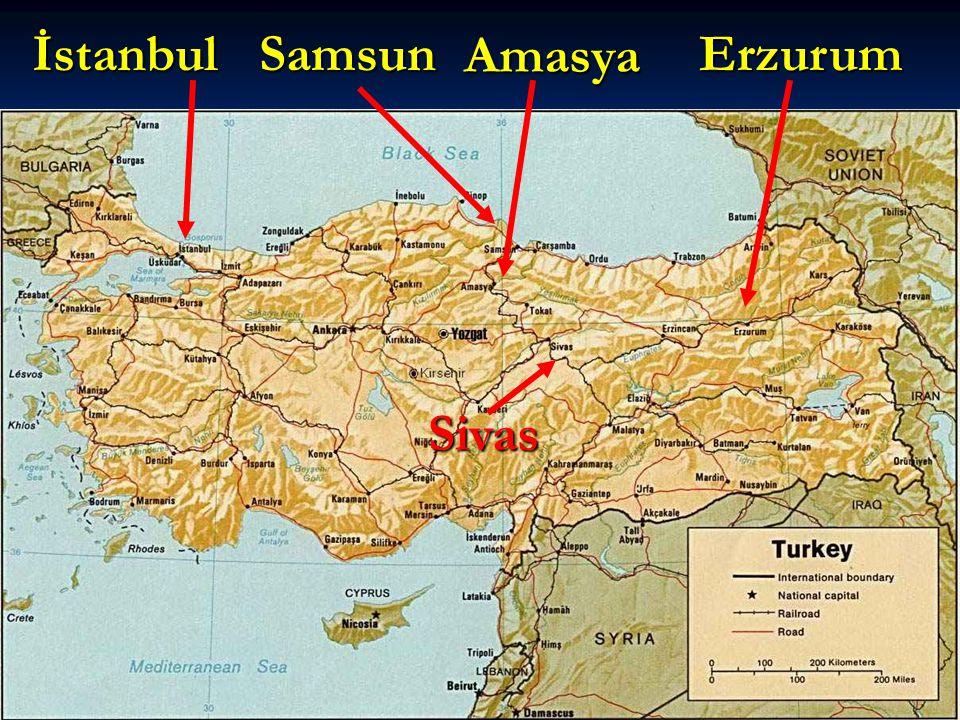 Samsun Havza Amasya Erzurum